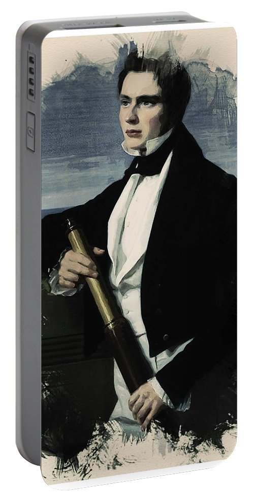 Man Portable Battery Charger featuring the painting Young Faces From The Past Series By Adam Asar, No 29 by Adam Asar