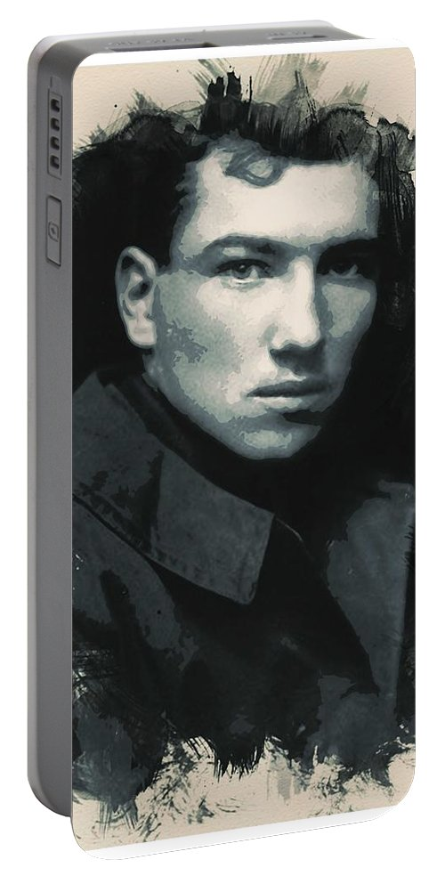 Man Portable Battery Charger featuring the painting Young Faces From The Past Series By Adam Asar, No 33 by Adam Asar