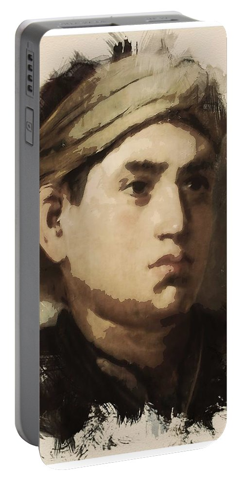 Man Portable Battery Charger featuring the painting Young Faces From The Past Series By Adam Asar, No 36 by Adam Asar