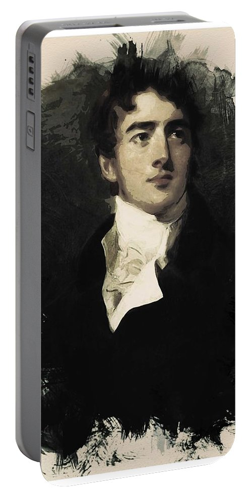 Man Portable Battery Charger featuring the painting Young Faces From The Past Series By Adam Asar, No 38 by Adam Asar