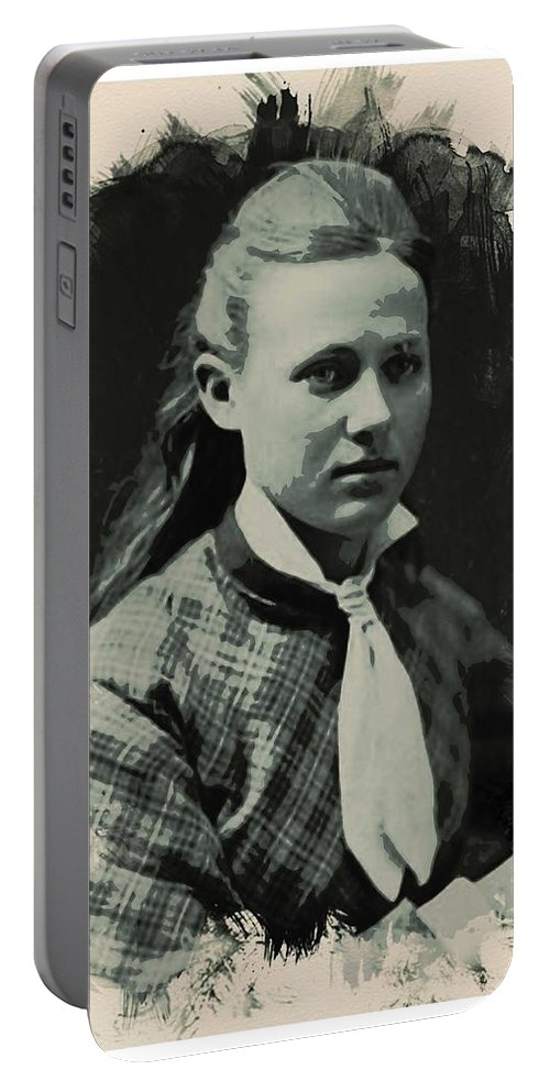 Girl Portable Battery Charger featuring the painting Young Faces From The Past Series By Adam Asar, No 41 by Adam Asar