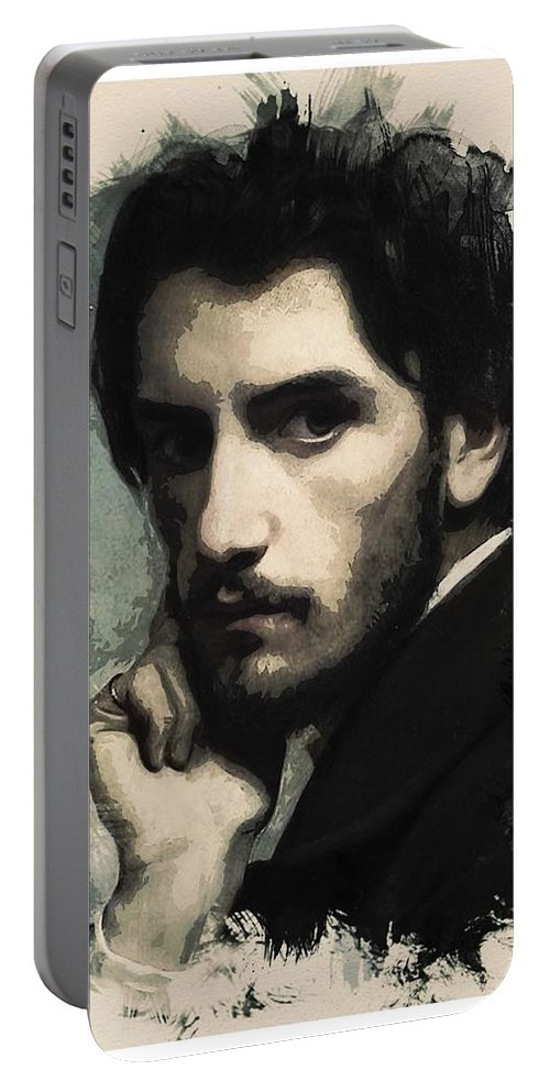 Man Portable Battery Charger featuring the painting Young Faces From The Past Series By Adam Asar, No 43 by Adam Asar