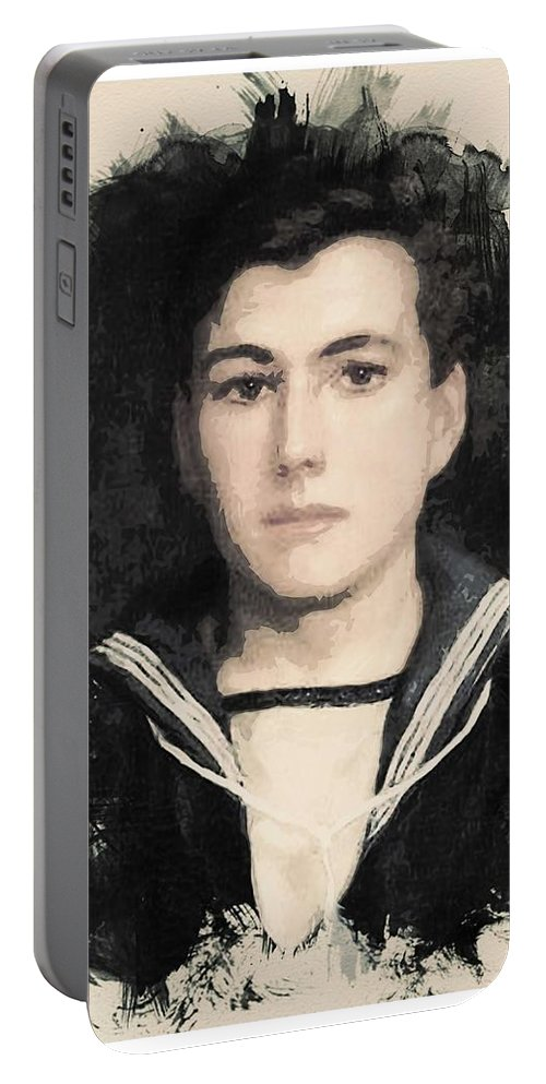 Man Portable Battery Charger featuring the painting Young Faces From The Past Series By Adam Asar, No 48 by Adam Asar