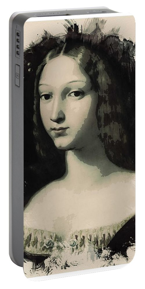 Girl Portable Battery Charger featuring the painting Young Faces From The Past Series By Adam Asar, No 5 by Adam Asar