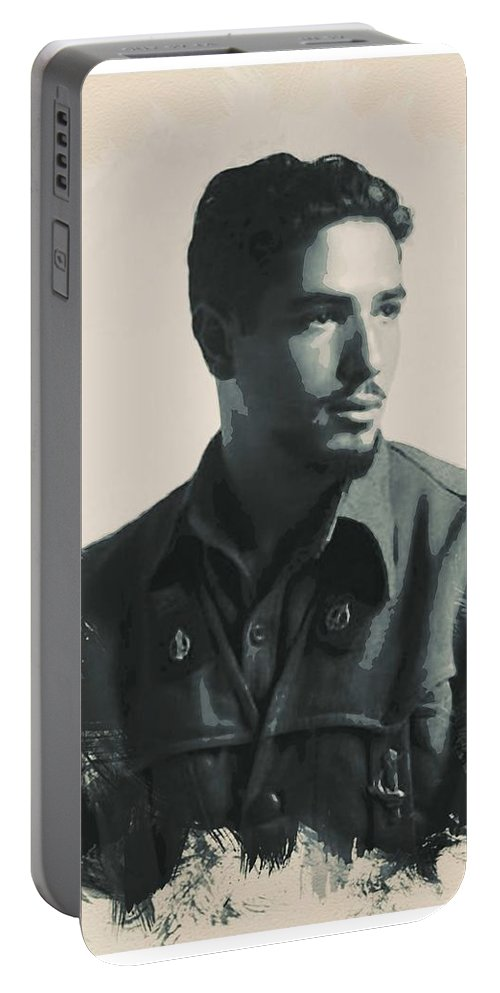 Man Portable Battery Charger featuring the painting Young Faces From The Past Series By Adam Asar, No 52 by Adam Asar