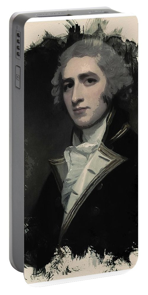 Man Portable Battery Charger featuring the painting Young Faces From The Past Series By Adam Asar, No 55 by Adam Asar