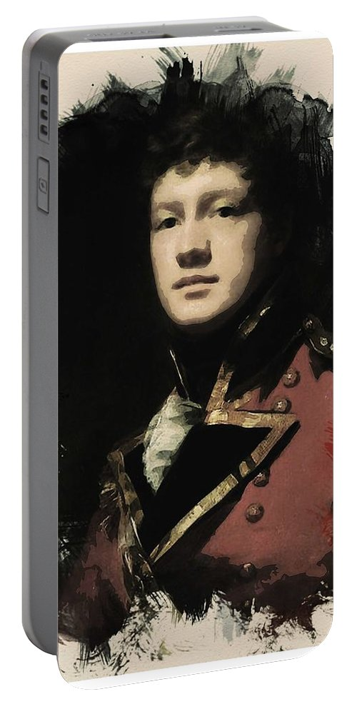 Man Portable Battery Charger featuring the painting Young Faces From The Past Series By Adam Asar, No 57 by Adam Asar
