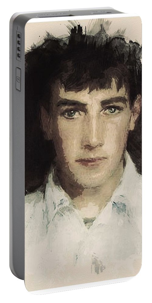 Man Portable Battery Charger featuring the painting Young Faces From The Past Series By Adam Asar, No 61 by Adam Asar