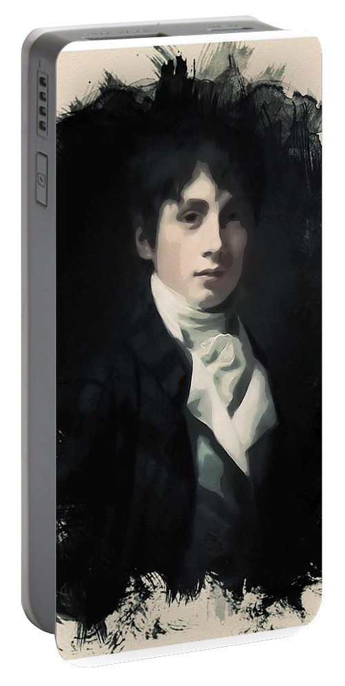 Man Portable Battery Charger featuring the painting Young Faces From The Past Series By Adam Asar, No 64 by Adam Asar