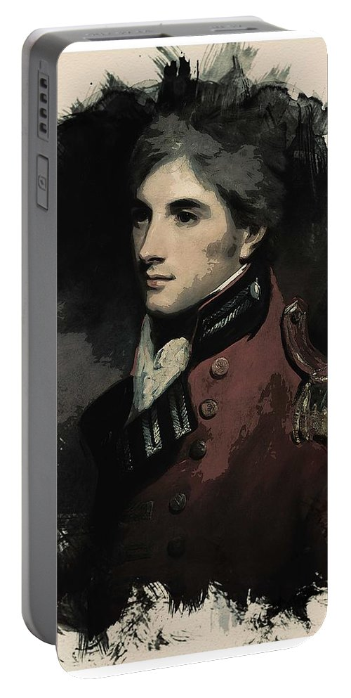 Man Portable Battery Charger featuring the painting Young Faces From The Past Series By Adam Asar, No 69 by Adam Asar