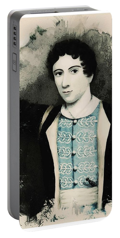 Man Portable Battery Charger featuring the painting Young Faces From The Past Series By Adam Asar, No 71 by Adam Asar