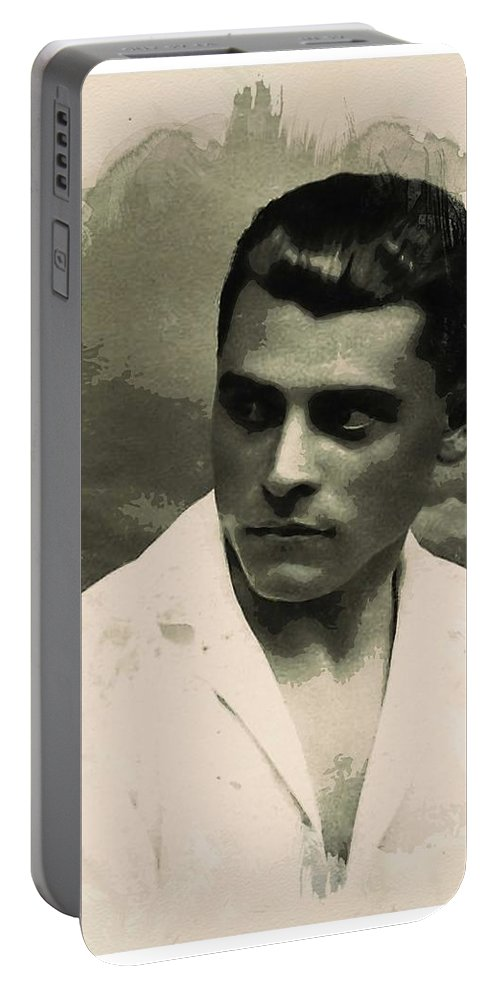 Man Portable Battery Charger featuring the painting Young Faces From The Past Series By Adam Asar, No 73 by Adam Asar