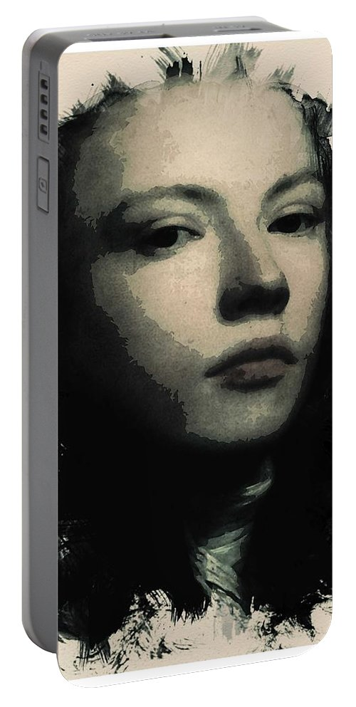 Girl Portable Battery Charger featuring the painting Young Faces From The Past Series By Adam Asar, No 75 by Adam Asar