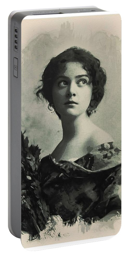 Girl Portable Battery Charger featuring the painting Young Faces From The Past Series By Adam Asar, No 82 by Adam Asar