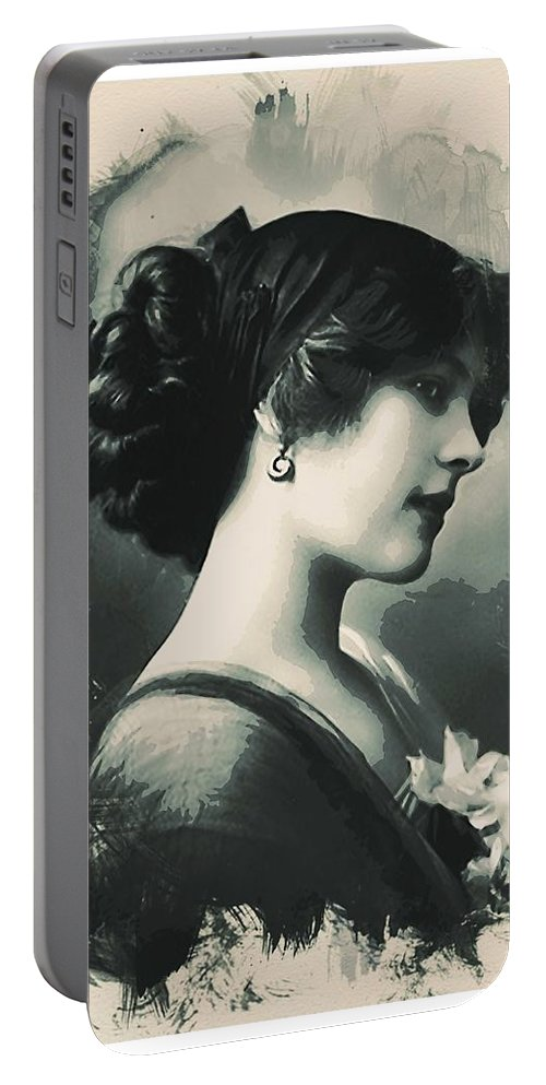 Girl Portable Battery Charger featuring the painting Young Faces From The Past Series By Adam Asar, No 85 by Adam Asar