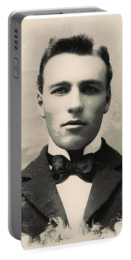 Man Portable Battery Charger featuring the painting Young Faces From The Past Series By Adam Asar, No 96 by Adam Asar