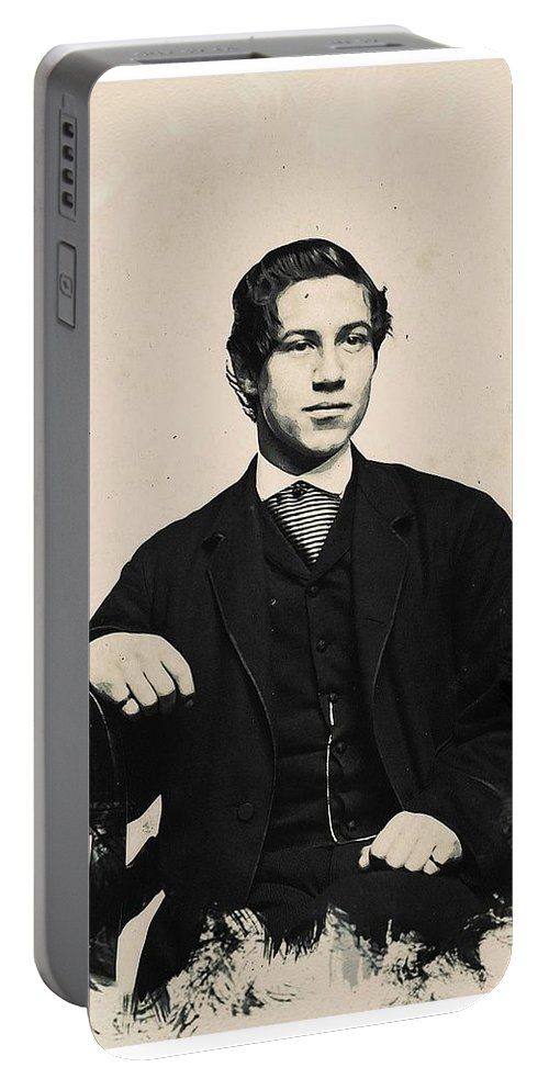Man Portable Battery Charger featuring the painting Young Faces From The Past Series By Adam Asar, No 97 by Adam Asar