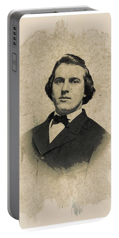 Man Portable Battery Charger featuring the painting Young Faces From The Past Series By Adam Asar, No 99 by Adam Asar