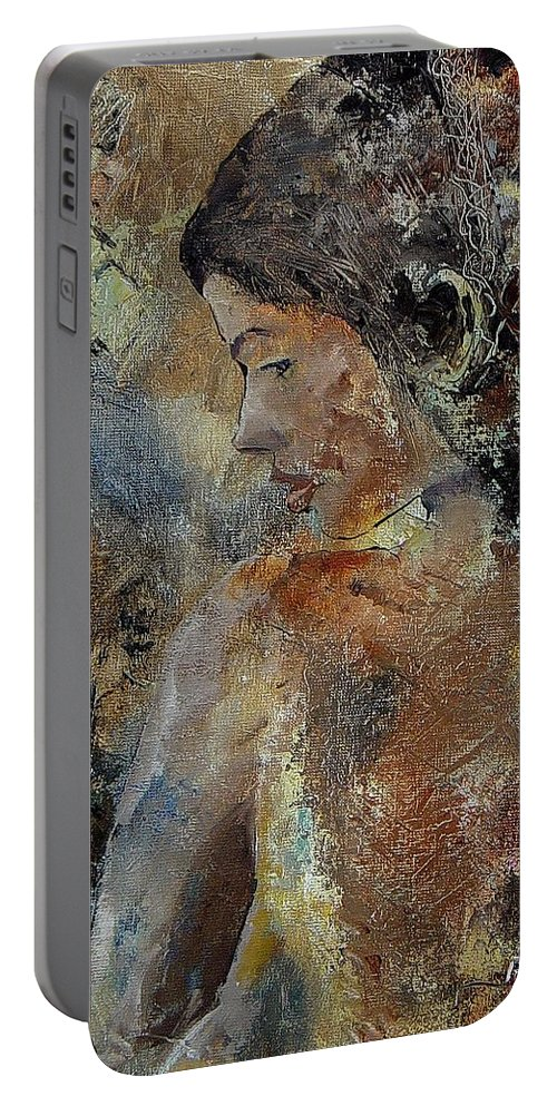 Girl Portable Battery Charger featuring the painting Young Girl 45156987 by Pol Ledent