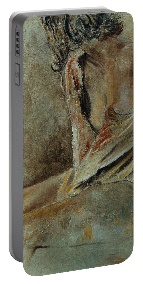Gir Portable Battery Charger featuring the painting Young Girl 45905040 by Pol Ledent