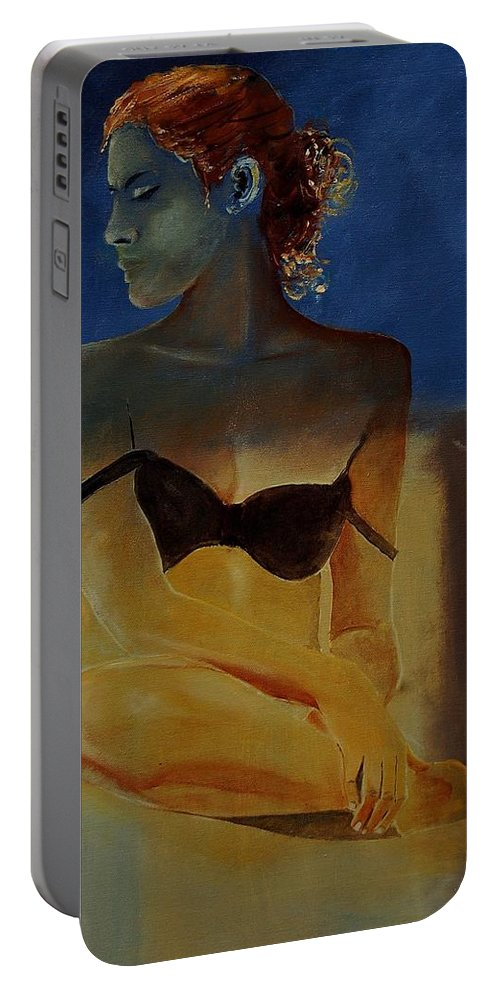 Gir Portable Battery Charger featuring the painting Young Girl 56902140 by Pol Ledent