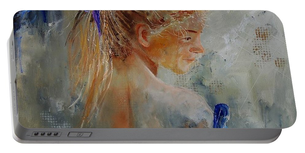 Gir Portable Battery Charger featuring the painting Young Girl 78 by Pol Ledent