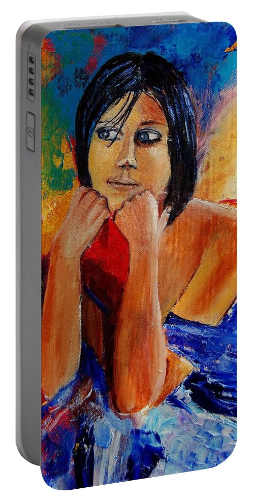 Girl Portable Battery Charger featuring the painting Young Girl Eg9011 by Pol Ledent