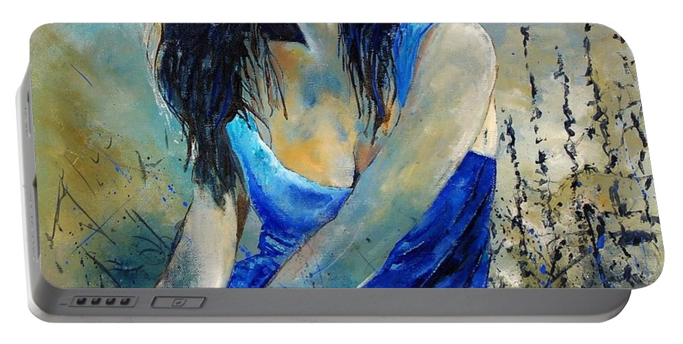 Girl Portable Battery Charger featuring the painting Young Girl In Blue by Pol Ledent