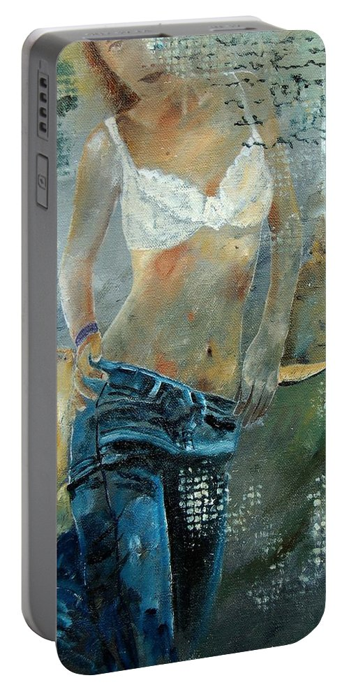 Girl Portable Battery Charger featuring the painting Young girl in jeans by Pol Ledent