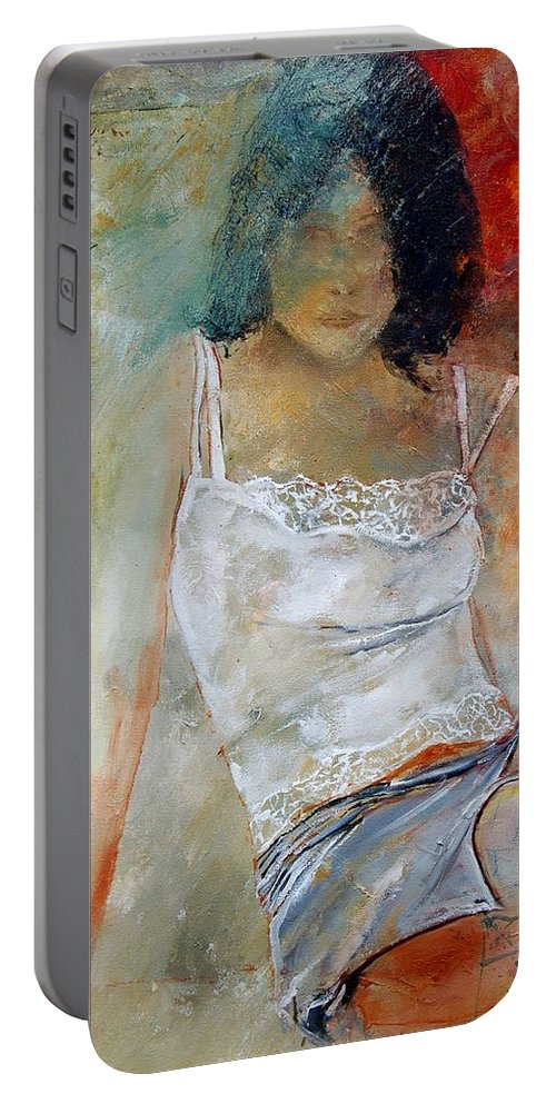 Nude Portable Battery Charger featuring the painting Young Girl Sitting by Pol Ledent