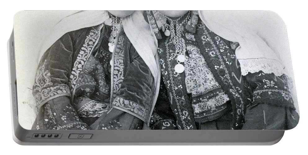 Portraits Portable Battery Charger featuring the photograph Young Girls Of Bethlehem Year 1896 by Munir Alawi