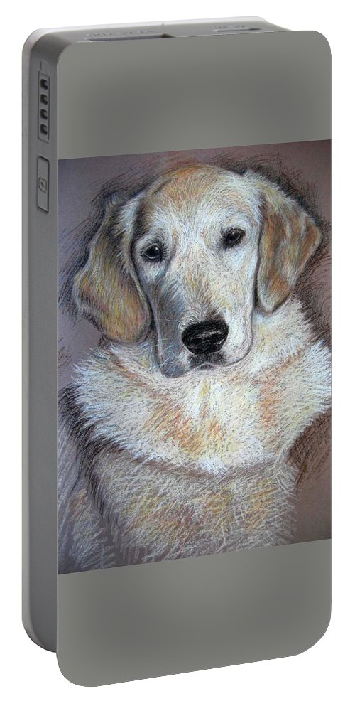 Dog Portable Battery Charger featuring the pastel Young Golden Retriever by Nicole Zeug