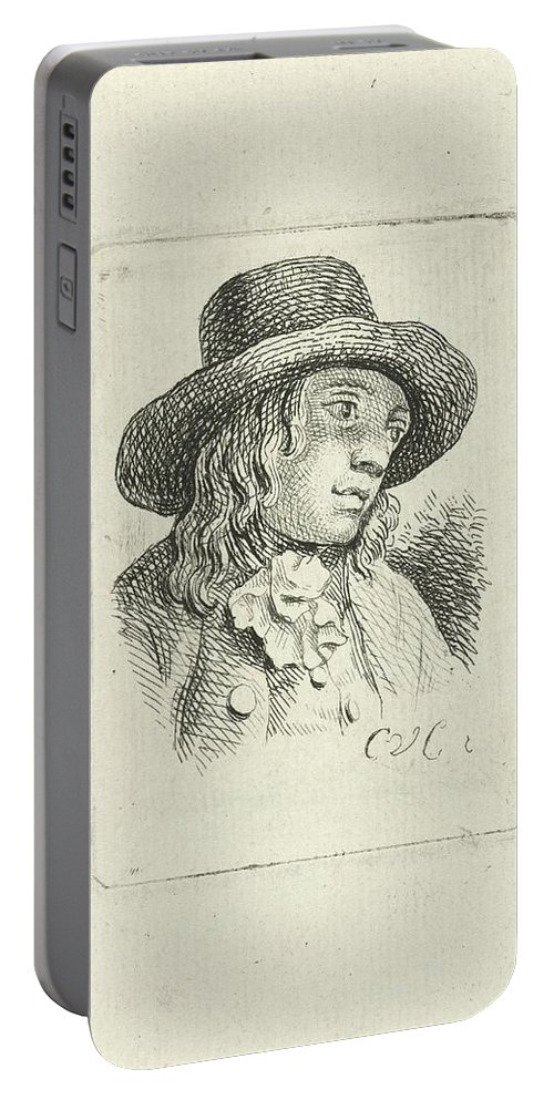 Young Man With Hat Portable Battery Charger featuring the painting Young Man With Hat by MotionAge Designs