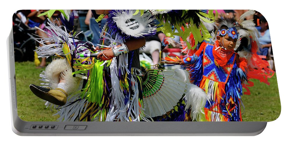 Native Portable Battery Charger featuring the photograph Young Native Indian Boys Dancing In Tiny Tots Competition At A by Reimar Gaertner