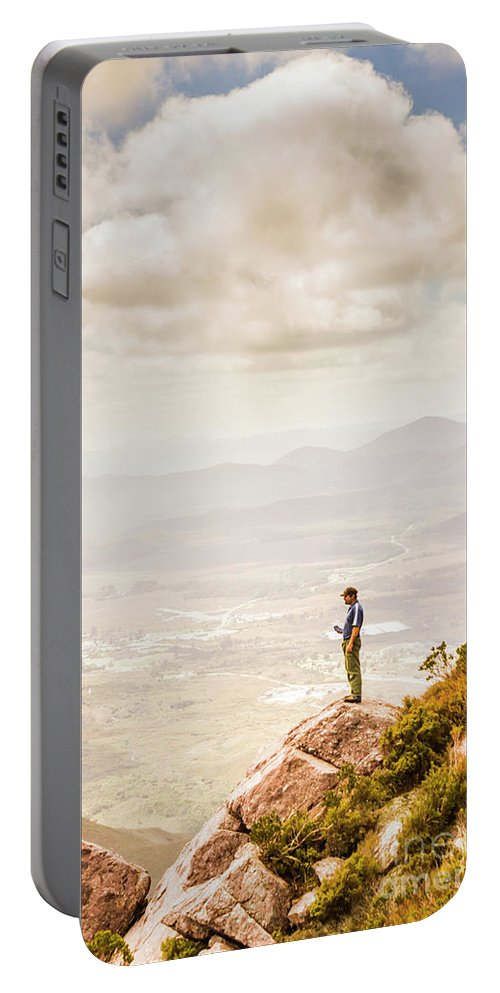 Nature Portable Battery Charger featuring the photograph Young Traveler Looking At Mountain Landscape by Jorgo Photography - Wall Art Gallery