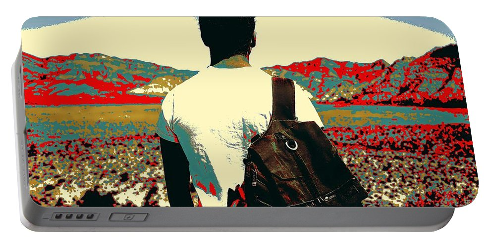 Man Portable Battery Charger featuring the painting Young Traveller by Celestial Images