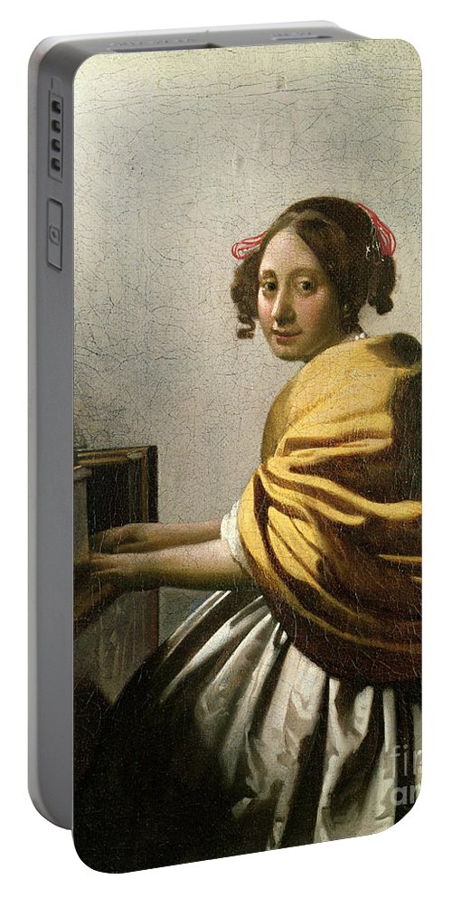 Young Woman At A Virginal (oil On Canvas) By Jan Vermeer (1632-75) Portable Battery Charger featuring the painting Young Woman At A Virginal by Jan Vermeer