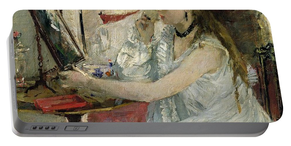 Young Portable Battery Charger featuring the painting Young Woman Powdering Her Face by Berthe Morisot
