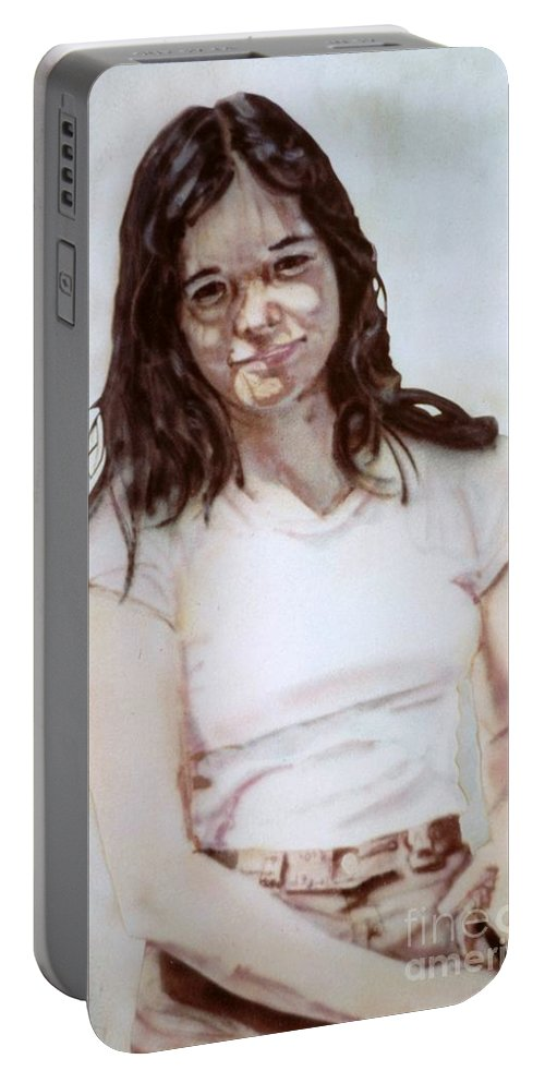 Portrait Portable Battery Charger featuring the painting Young Woman by Ron Bissett