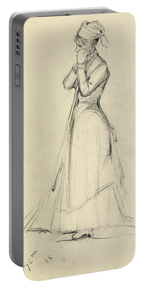 Dennis Miller Bunker Portable Battery Charger featuring the drawing Young Woman With A Broom by Dennis Miller Bunker