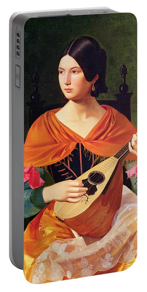 Young Woman With A Mandolin Portable Battery Charger featuring the painting Young Woman With A Mandolin by Vekoslav Karas