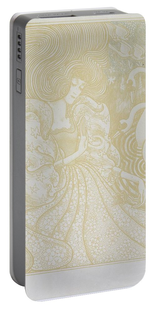 Young Woman With Butterfly Portable Battery Charger featuring the painting Young Woman With Butterfly by MotionAge Designs