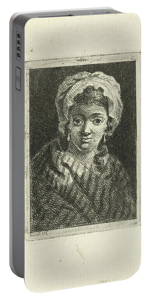 Young Woman With Hat And Curly Hair Portable Battery Charger featuring the painting Young Woman With Hat And Curly Hair by MotionAge Designs