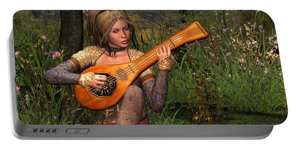 Fantasy Portable Battery Charger featuring the digital art Young Women Playing The Lute by John Junek