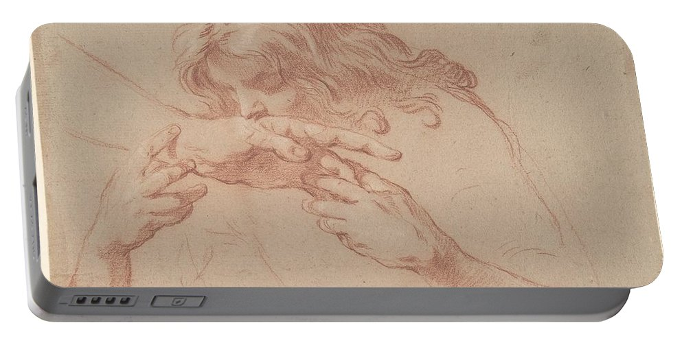 Youth Kissing An Outstretched Hand. Portable Battery Charger featuring the painting Youth Kissing An Outstretched Hand by MotionAge Designs