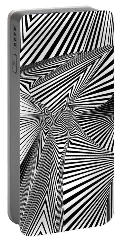 Dynamic Black And White Portable Battery Charger featuring the painting Ytilanigiro by Douglas Christian Larsen