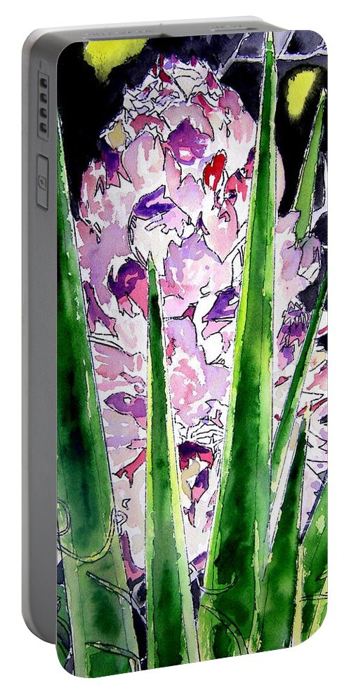 Flower Portable Battery Charger featuring the painting Yucca Flower Plant Southwestern Art by Derek Mccrea