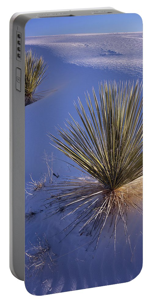 New Mexico Portable Battery Charger featuring the photograph Yucca In Gypsum Sand by Tom Daniel