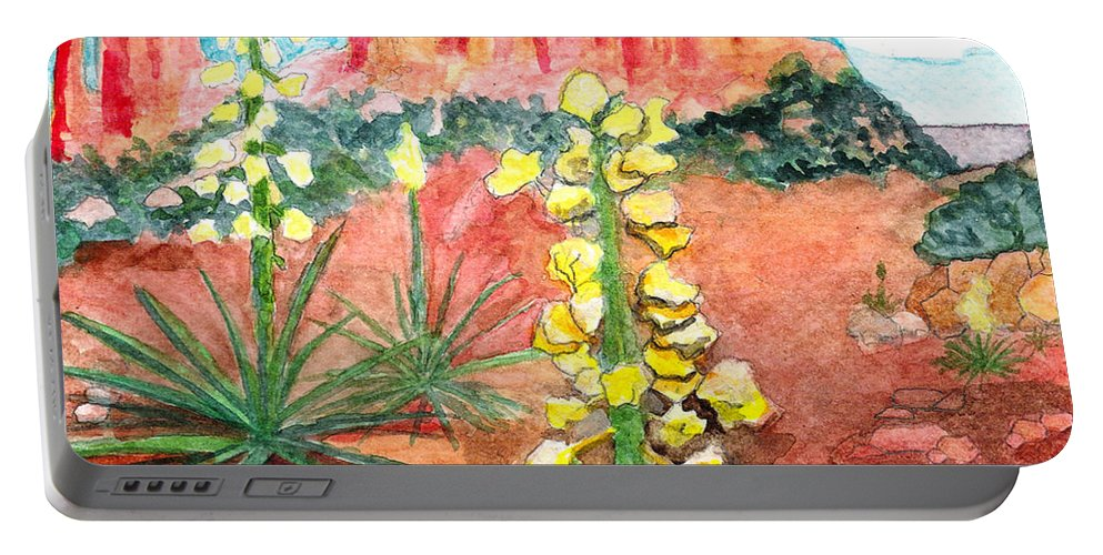 Yucca Portable Battery Charger featuring the painting Yucca In Monument Valley by Eric Samuelson