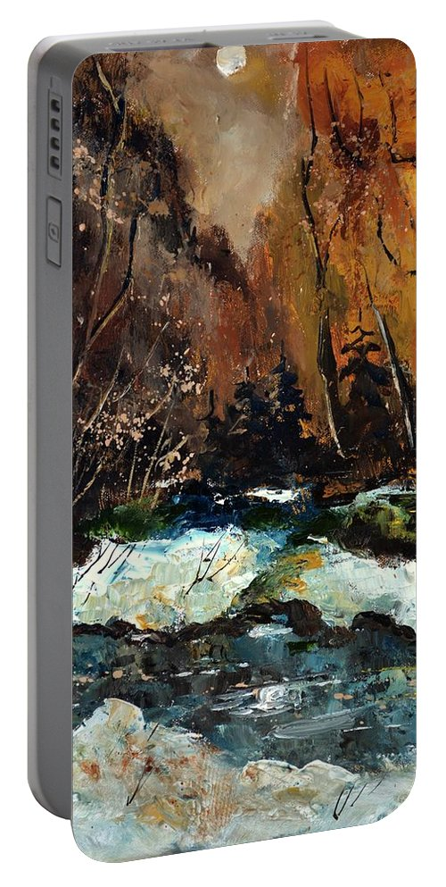 Landscape Portable Battery Charger featuring the painting Ywoigne river 4561 by Pol Ledent